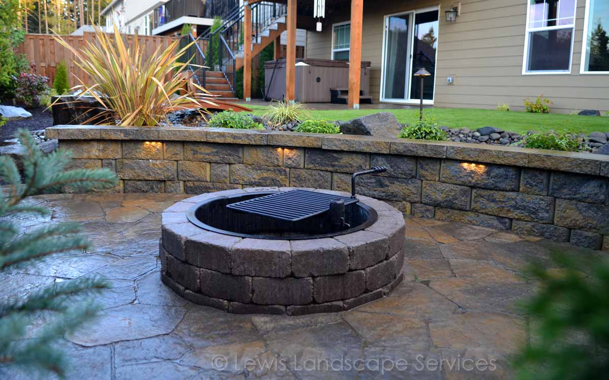 Close-up of Lower Paver Patio, Fire Pit, Seat Wall