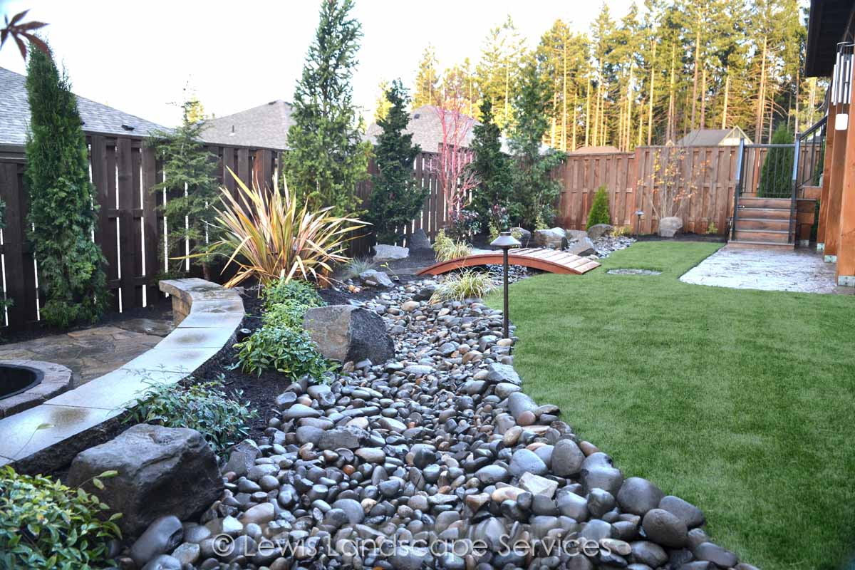 Dry Streambed, Synthetic Turf, Planting