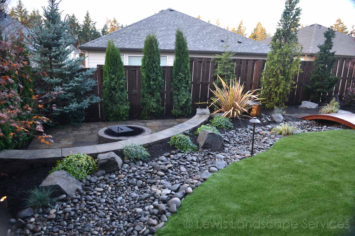 Lower Paver Patio, Fire Pit, Seat Wall, Dry Streambed