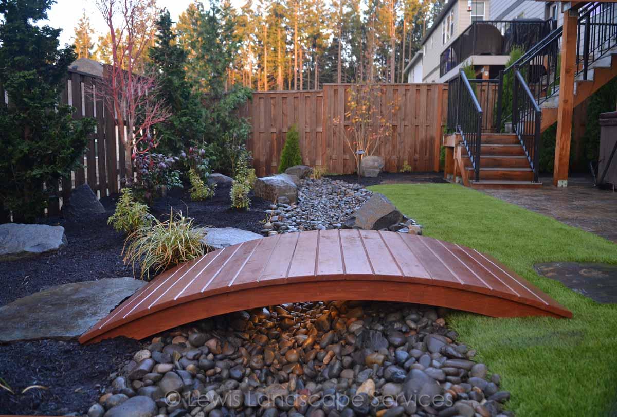Dry Streambed, Bridge, Synthetic Turf, Planting
