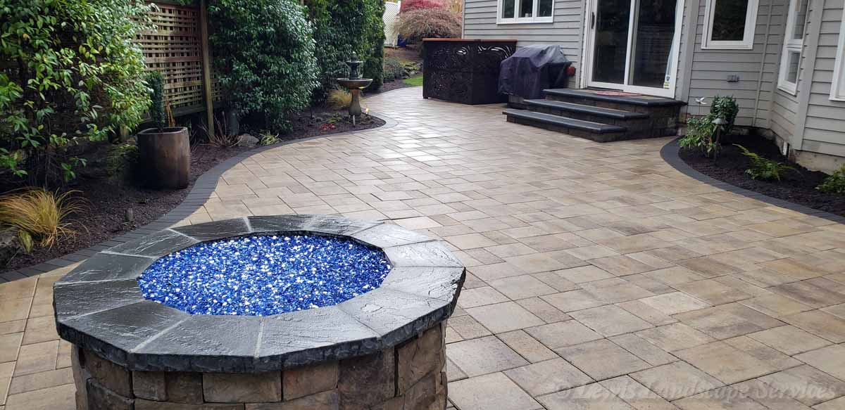 Paver Patio, Fire Pit, Seat Wall, Fountain, Utitily Screen
