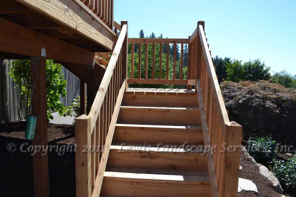 Cedar Deck Steps from one of our Portland, Oregon decking installation jobs
