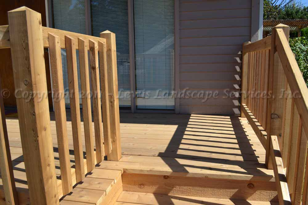 Close up of Cedar Railing at one of our Cedar Deck Installations in Portland, Oregon decking installers