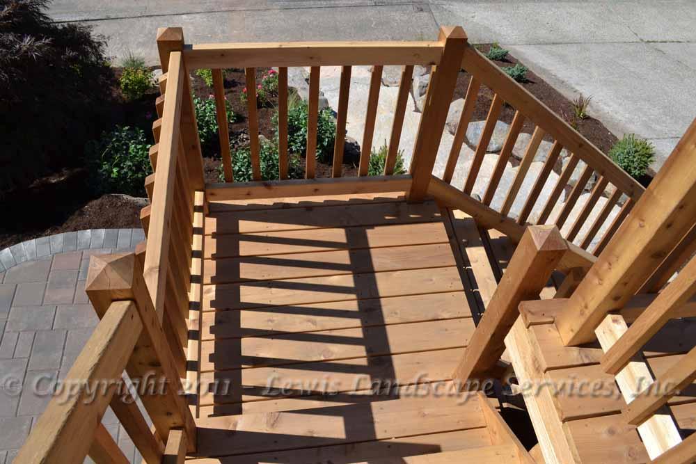 Cedar Deck, Landing & Steps at Deck Installer Job we did in Portland, Oregon