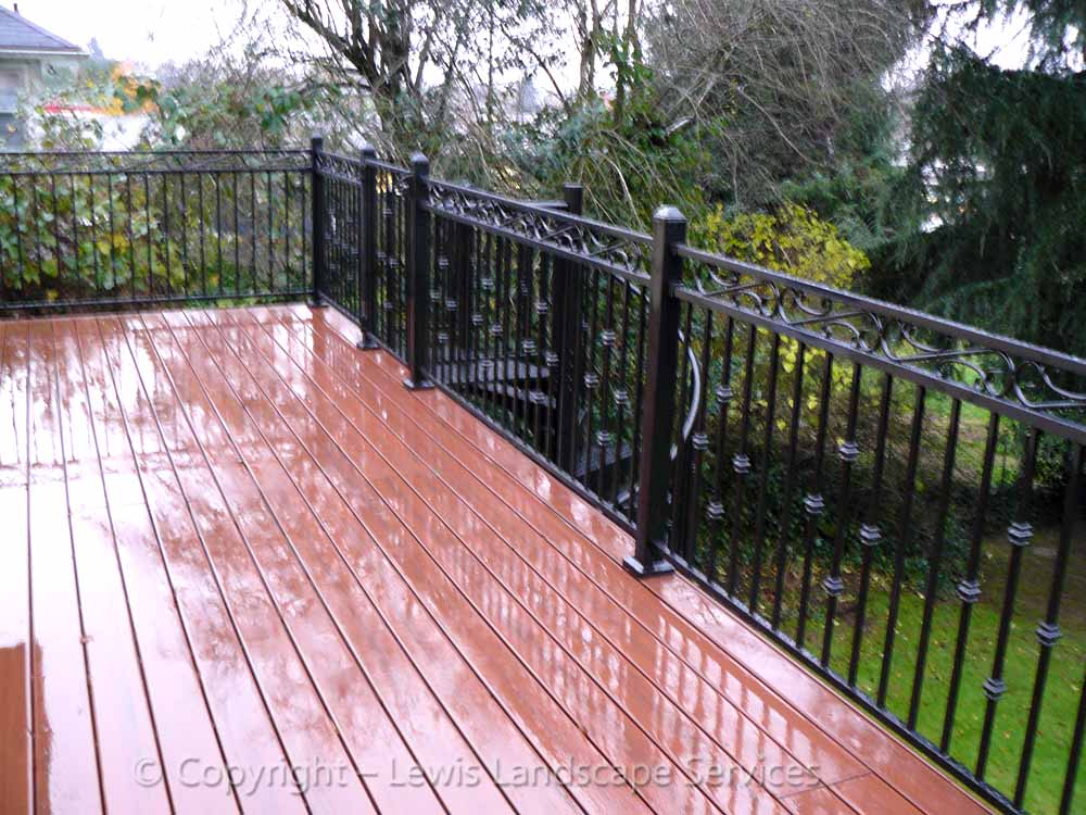 TimberTech Deck & Iron Railing at one of our deck installations in Beaverton, OR