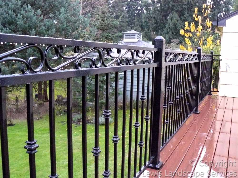 Decorative Iron Deck Railing at one of our deck installations in Portland, OR