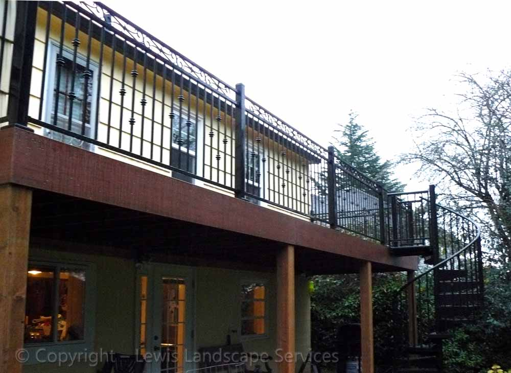 TimberTech Deck & Decorative Iron Railing at one of our deck installations in Beaverton, OR