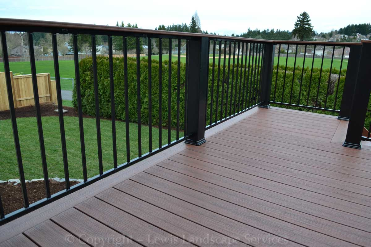 Decorative Iron Deck Railing at one of our deck installations in Beaverton, Oregon