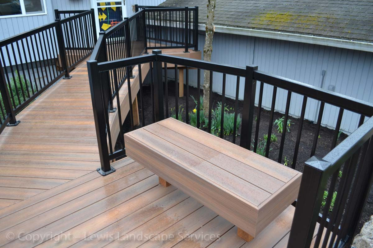 TimberTech Decking with Railing, Bench and Wheelchair Ramp from one of our deck installations in Portland, Oregon