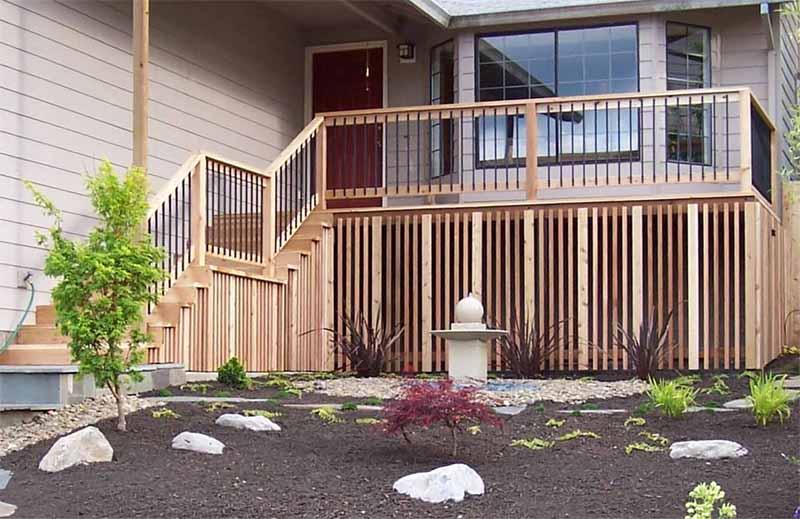 Cedar Deck with cedar + iron raling we installed in Beaverton, OR