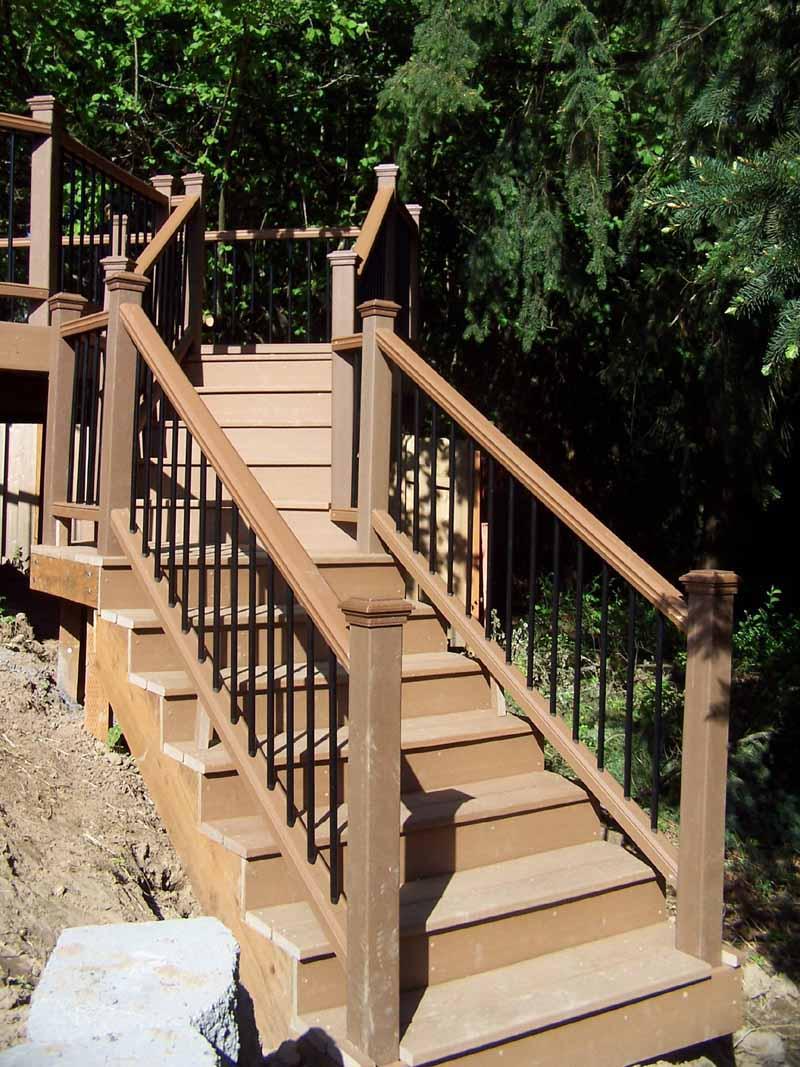 Trex Deck & Iron Railing at Installation we did in Hillsboro, Oregon - Deck Builder