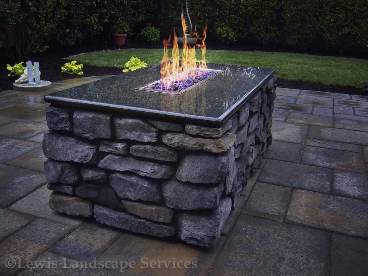 Rectangle Stone Gas Fire Pit / Fire Table