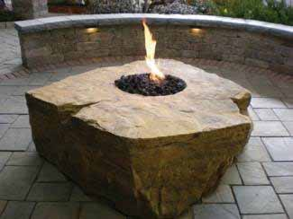 One Large Boulder Gas Fire Pit