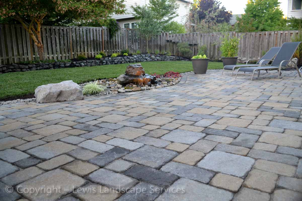 Back Yard Paver Patio, Rock Bubbler Fountain & New Sod Lawn