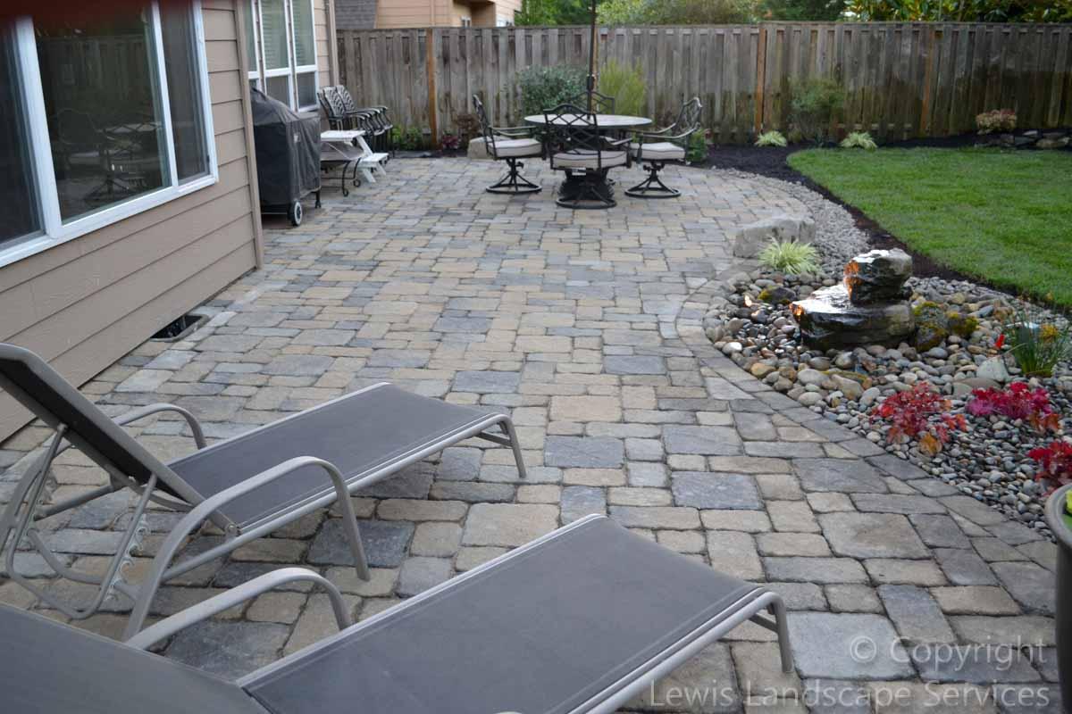 Back Yard - Paver Patio, New Sod Lawn, Plantings, Rock Bubbler Fountain
