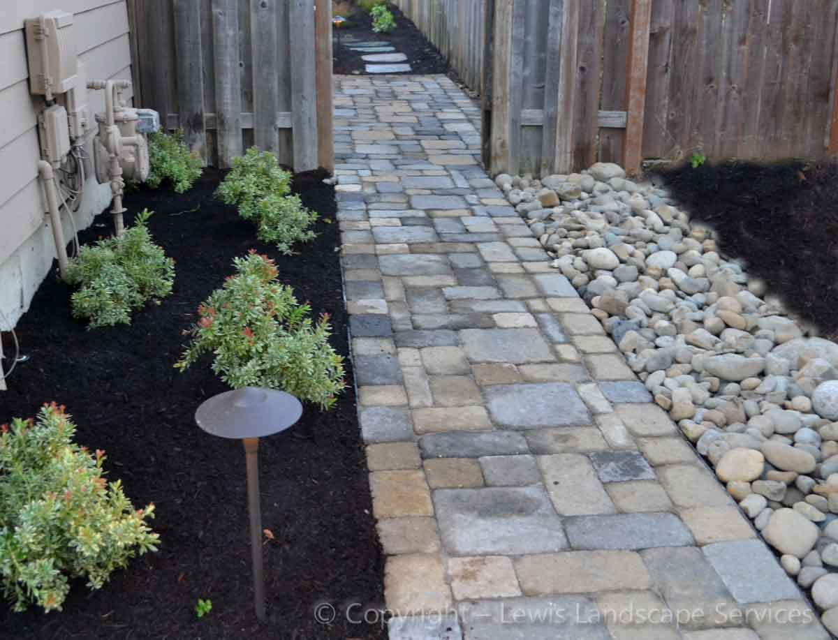 Front Side Yard Paver Pathway, Planting, French Drain