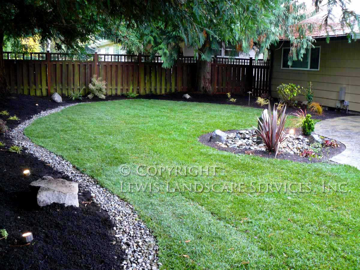 Back Yard New Sod Lawn, Rock Bubbler Fountain, French Drain
