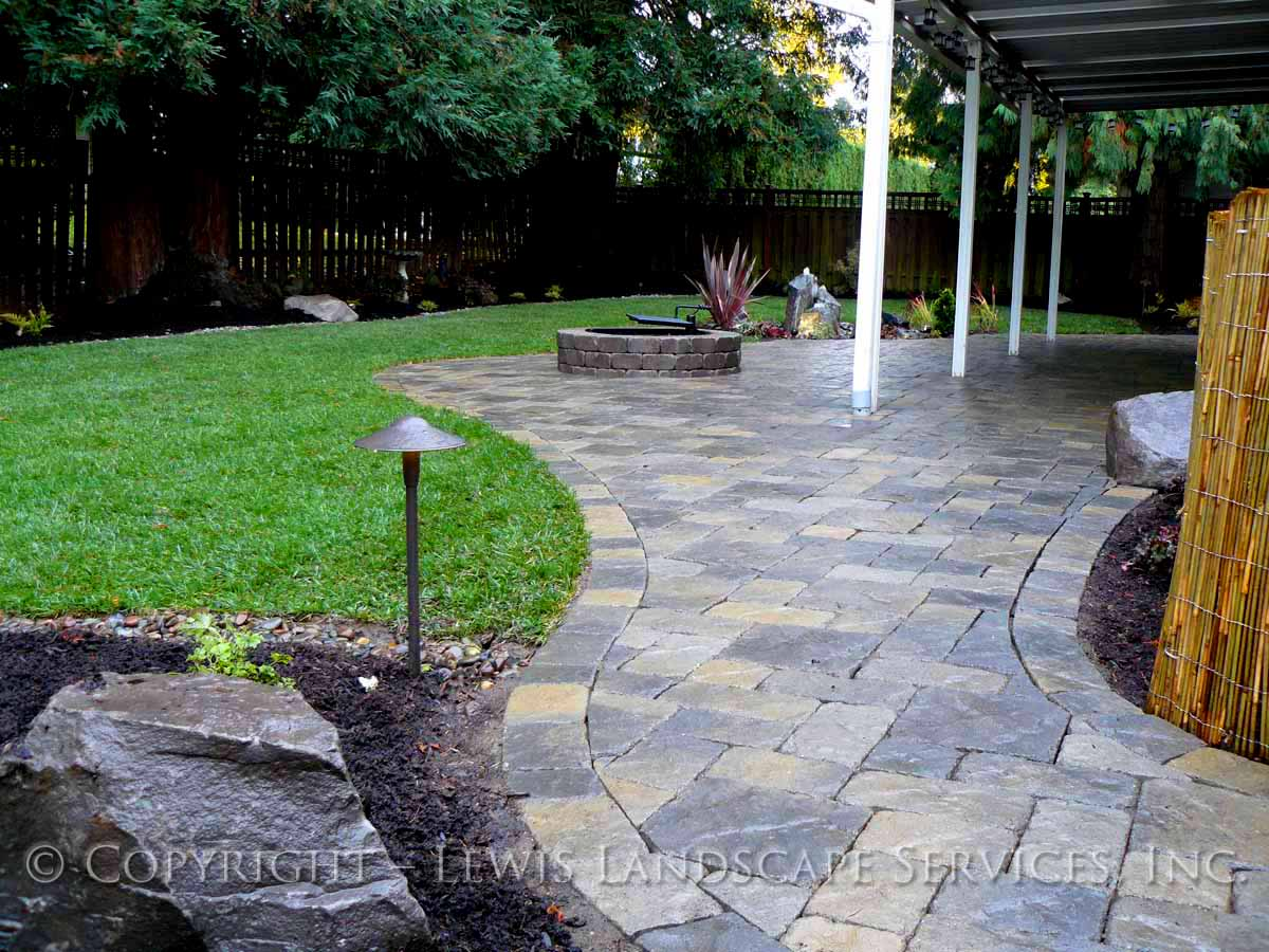 Back Yard Paver Patio, Fire Pit, New Sod Lawn, Planting