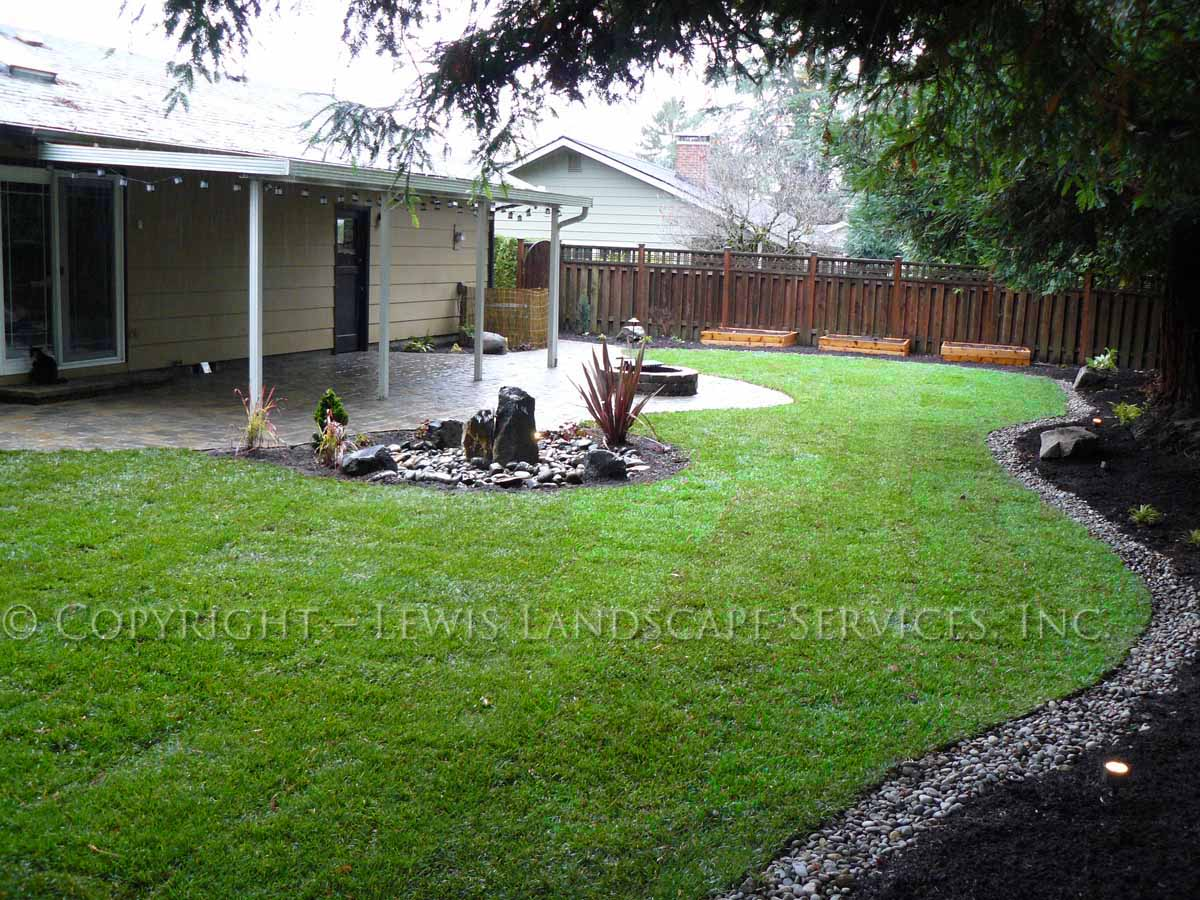 Back Yard Overall - Sod Lawn, French Drain, more...