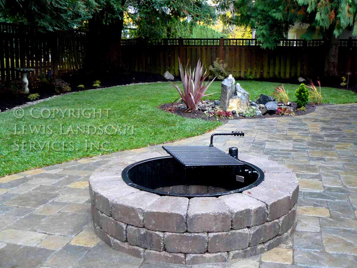 Back Yard Fire Pit, Paver Patio, Planting, Bubbler Fountain, New Sod Lawn