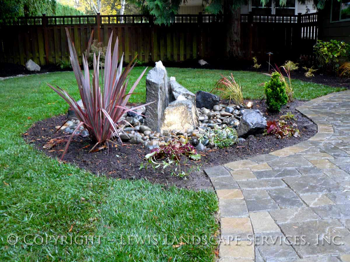 Back Yard Bubbler Fountain, New Sod Lawn, Planting, Paver Patio