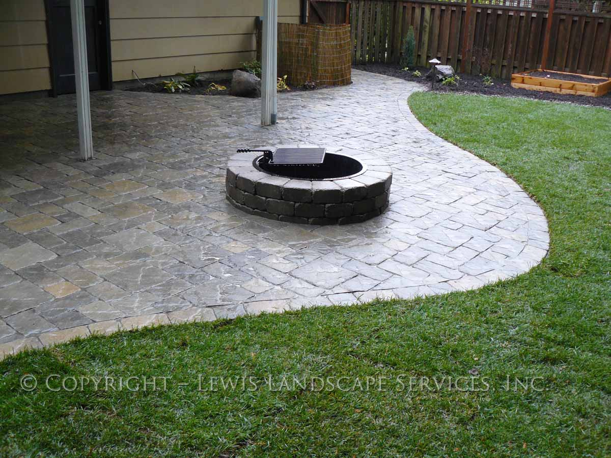 Back Yard Fire Pit, Paver Patio, New Sod Lawn