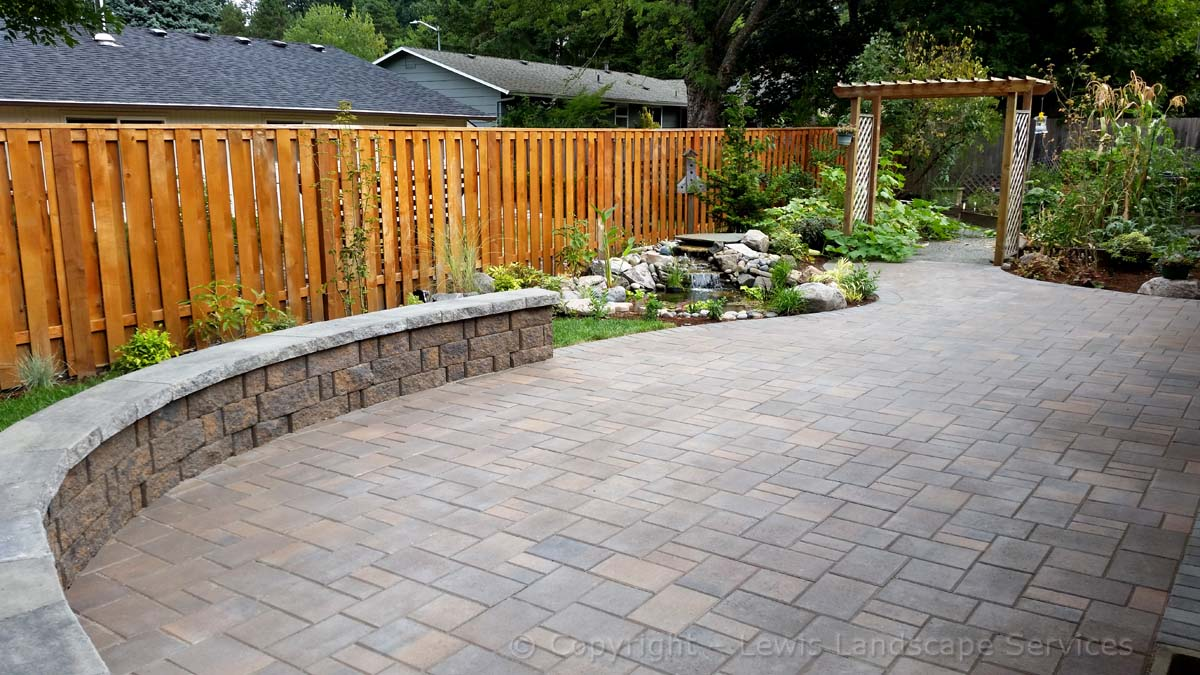 Back Yard Paver Patio, Seat Wall, Arbor, Pond/Waterfall, Sod Lawn
