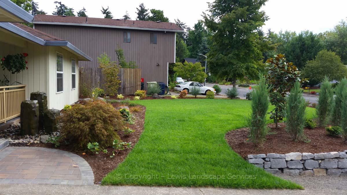 Front Yard Sod Lawn, Bubbler Fountains, Sod Lawn, Rock Walls, Planting