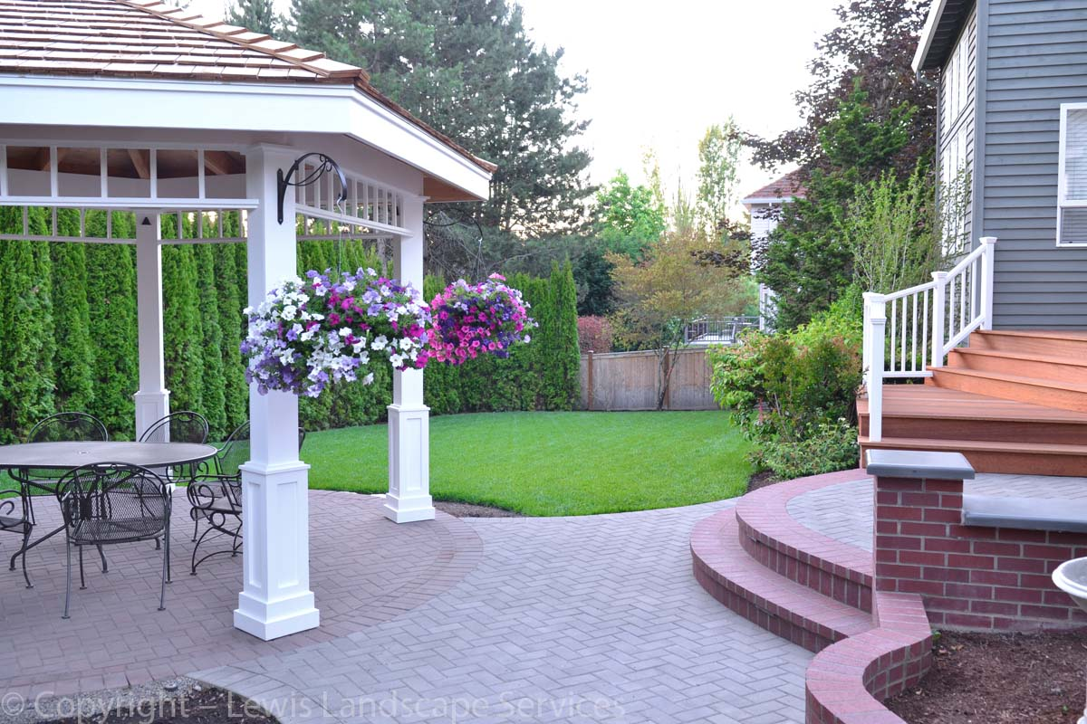 Gazebo, Paver Patio, Brick Masonry Work, Deck, New Sod Lawn, New Arborvitaes