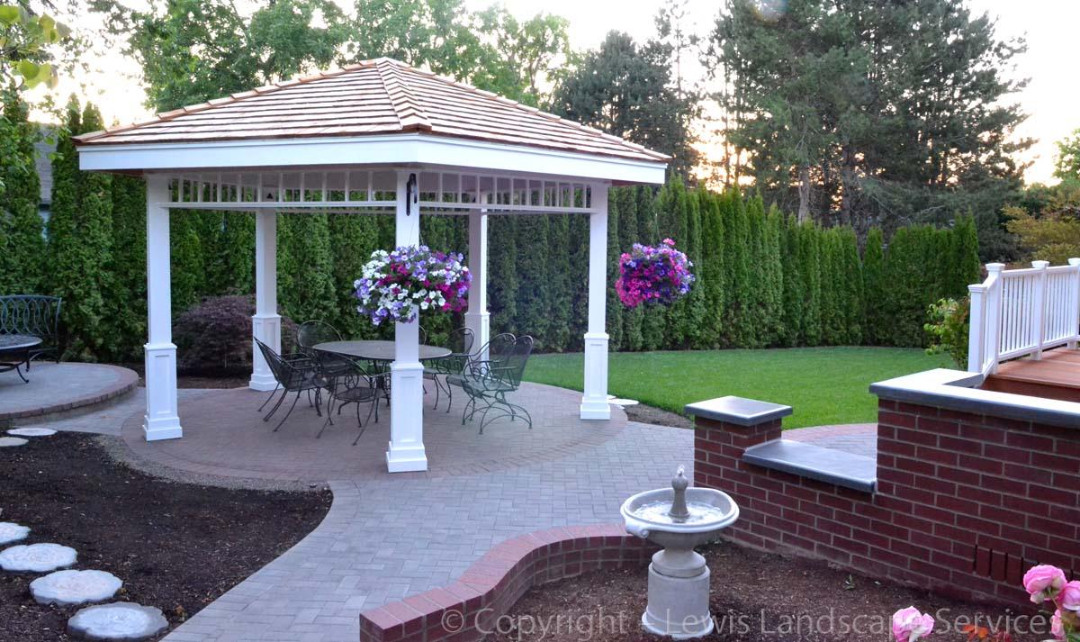 Gazebo, Paver Patio, Brick Masonry Work, Deck, New Sod Lawn, New Arborvitaes