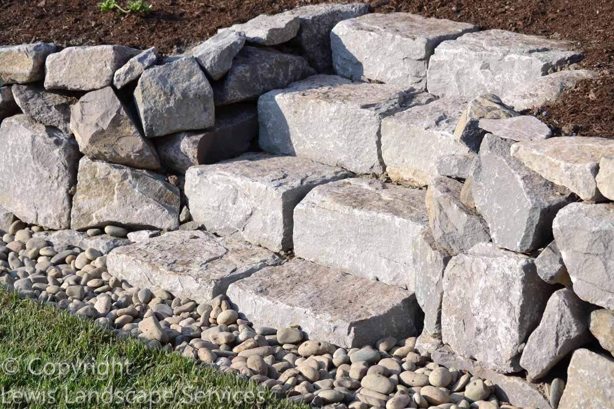 Closeup of Basalt Curb Stone Steps