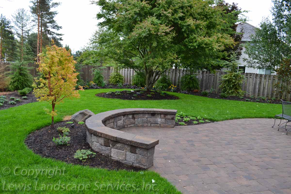 Paver Patio, Seat Wall, Sod Lawn, Irrigation, Plants & Trees
