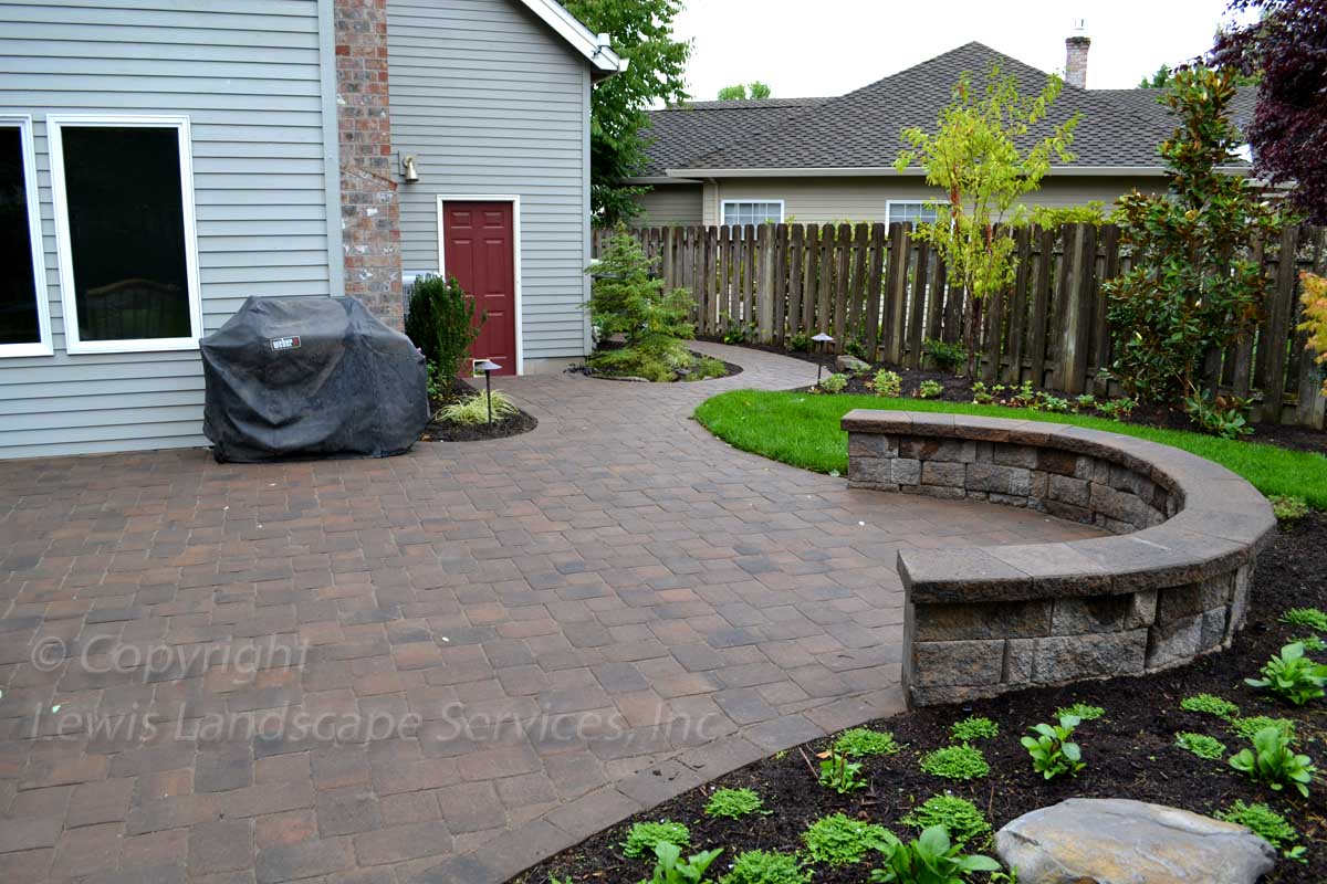Paver Patio & Pathways, Seat Wall, Sod Lawn, Irrigation, Plants & Trees