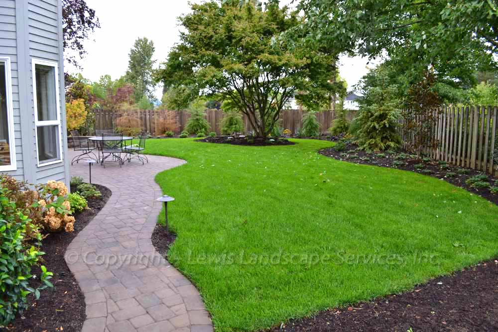 New Sod Lawn, Paver Pathway, Plantings