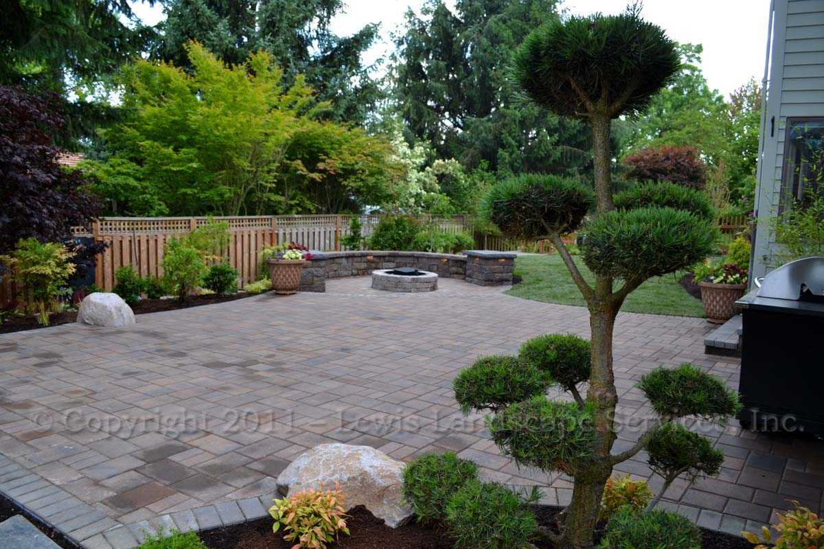 Paver Patio, Seat Wall, Fire Pit, Planting