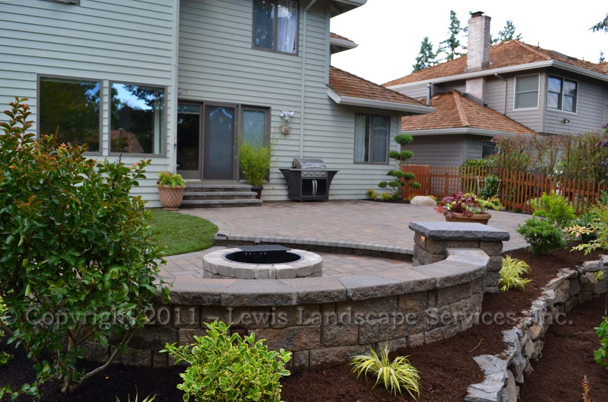 Two-Tiered Paver Patio, Fire Pit, Planting