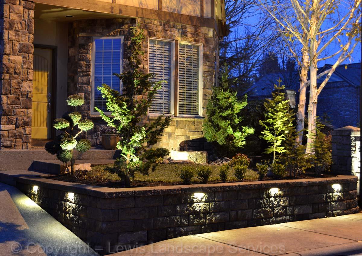 Retaining Wall, New Sod Lawn, Plants, Lighting