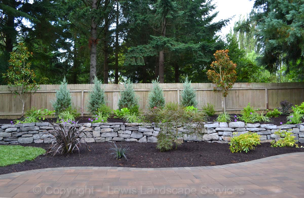 Basalt Dry-Stack Rock Walls, New Plants & Trees