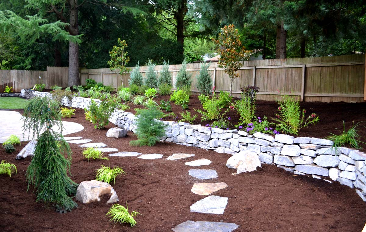 Rock Walls, Flagstone Steps, New Plantings