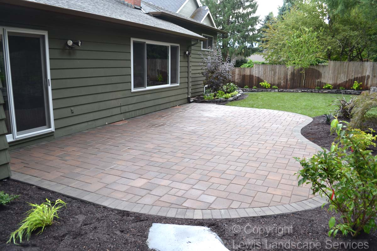 Paver Patio, Planting, New Sod Lawn