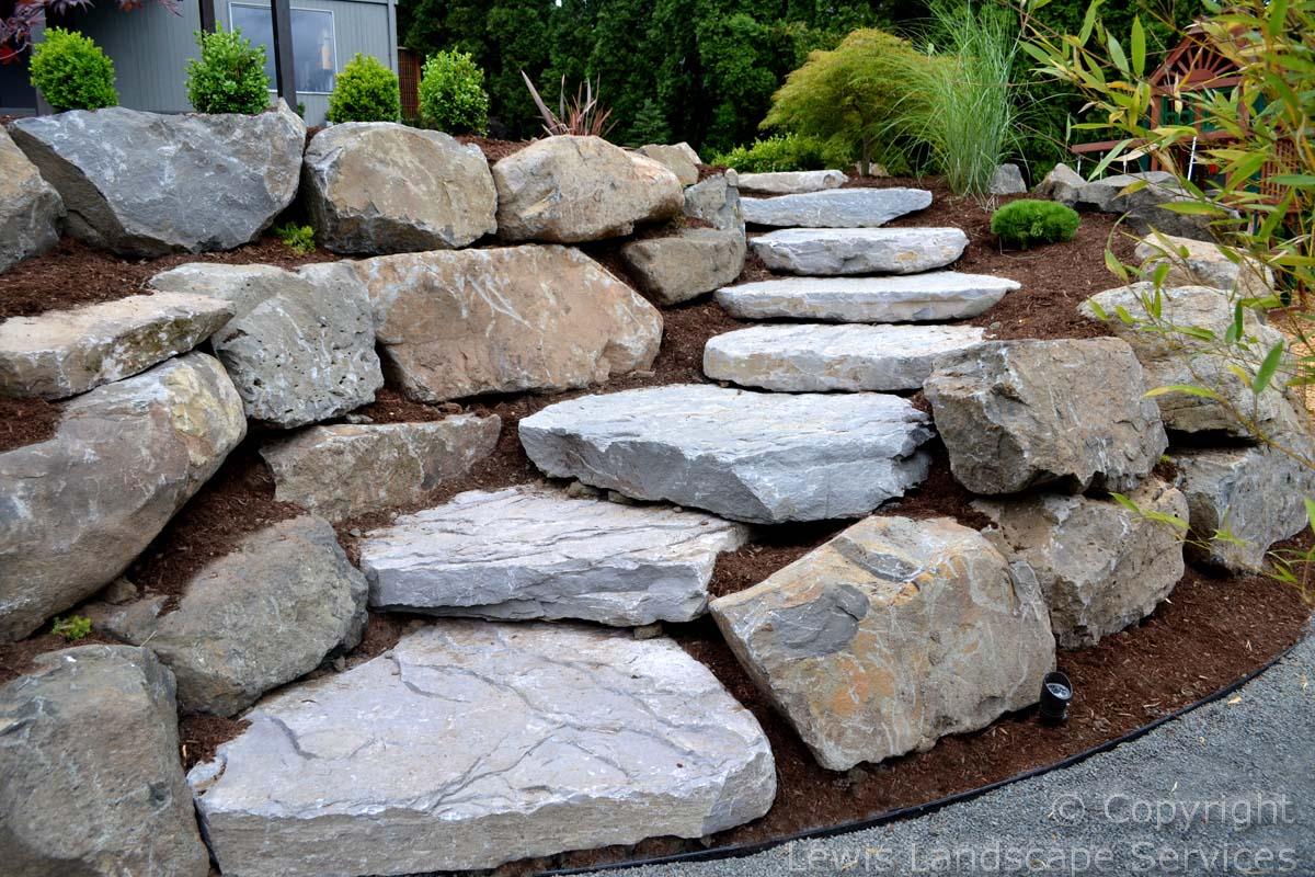 Rock Slab Steps, Boulder Retaining Walls