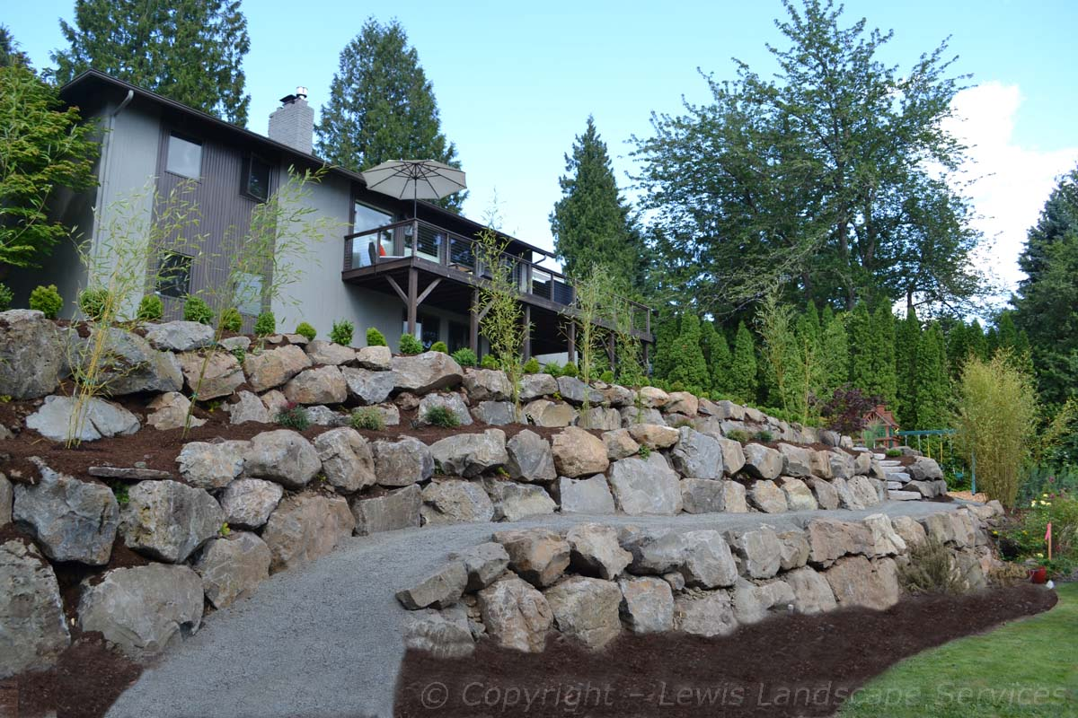 Terrace Rock Retaining Walls & Gravel Path