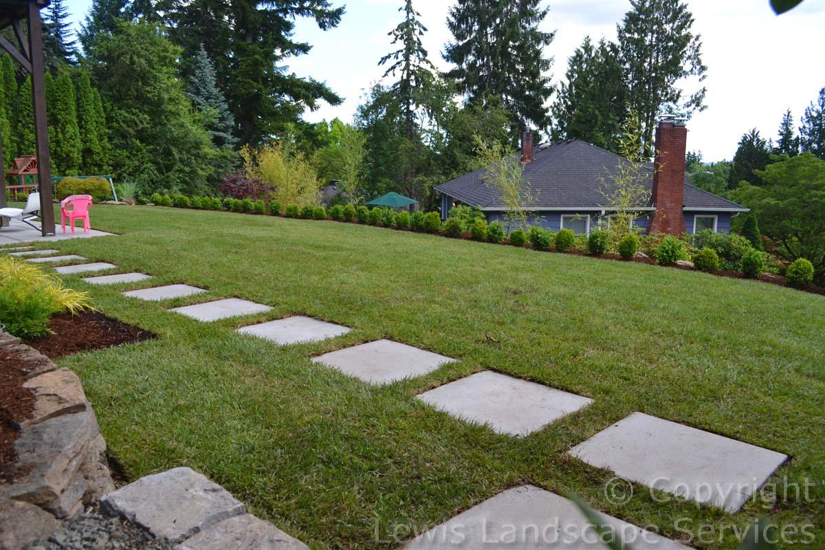 Paver Steps Through New Sod Lawn