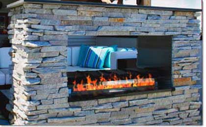 Contemporary See-Through Gas Outdoor Fireplace