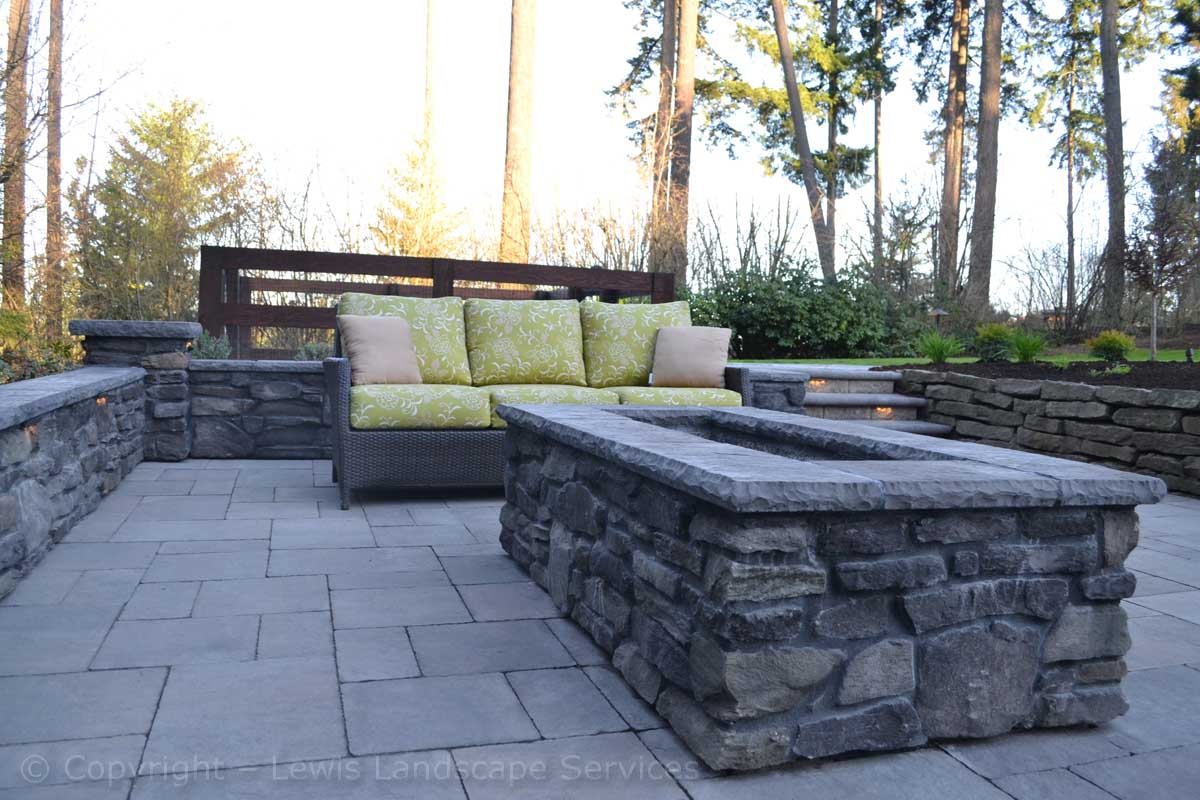 Close up of Fire Pit, Paver Patio, Walls