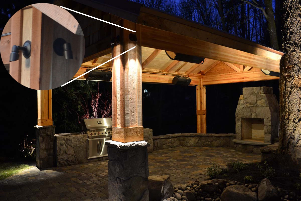 Outdoor LED Lighting Built Into Columns