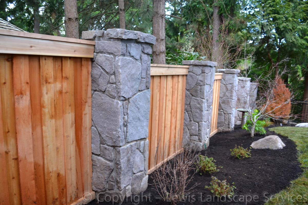 Stone Fence Columns, Cedar Fence