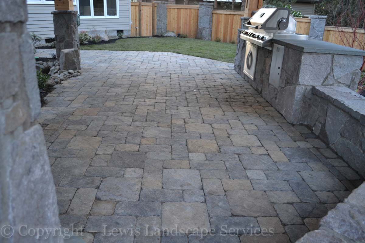 Stone Walls, Paver Patio, Outdoor Kitchen