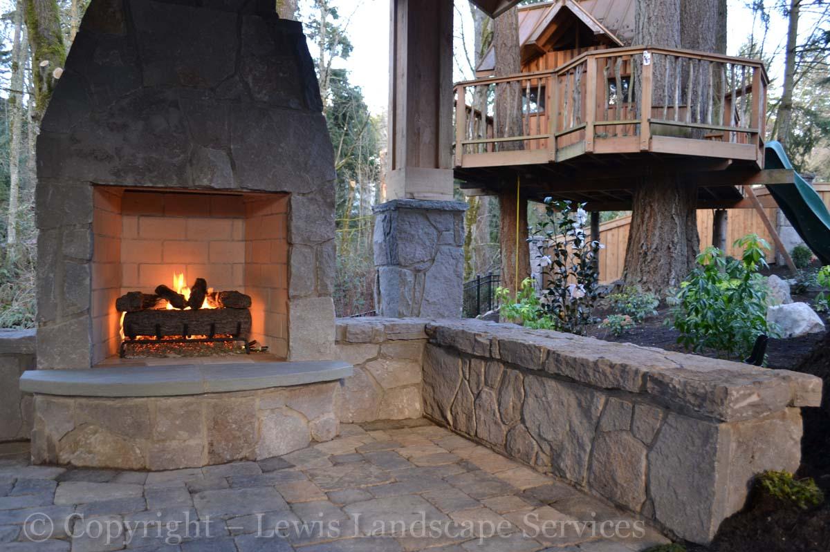 Stone Wall & Fireplace