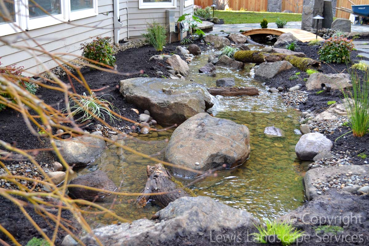 40 ft. Waterfall Streambed from Behind